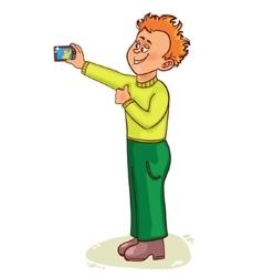 Little cartoon man makes photo of himself vector image vector image