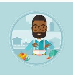 Man putting salt in salad vector