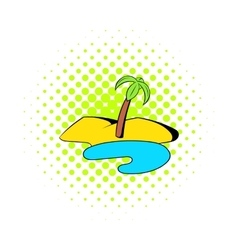 Oasis in the desert icon comics style vector image vector image
