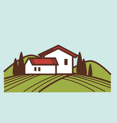 winery and vineyard farm house winemaking vector image vector image