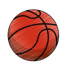 drawing basketball ball equipment vector image