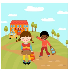 Kids go to school vector image