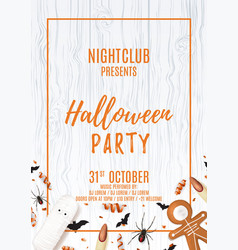 party flyer with treats for halloween vector image vector image