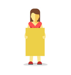 striking woman holding empty yellow banner vector image vector image