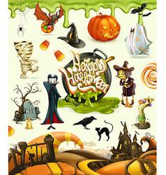 Halloween 3d Pumpkin ghost spider witch vampire vector image vector image