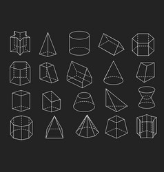 line geometric shapes 3d icons set vector image