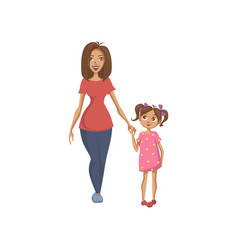 mother and daughter holding hands happy family vector image