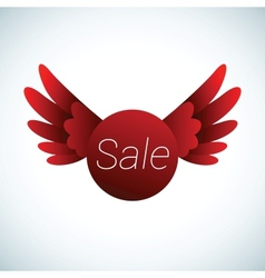 sale sign with red wings vector image vector image