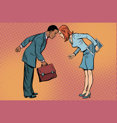 Two businessman in conflict racial and sexual vector