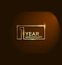 1 year anniversary golden design line style vector