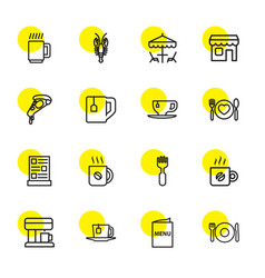 16 cafe icons vector image