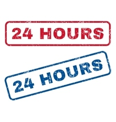24 Hours Rubber Stamps vector image
