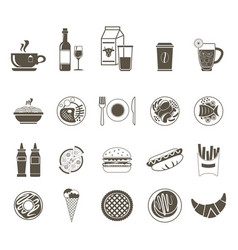 a large set of icons of different foods and drinks vector image