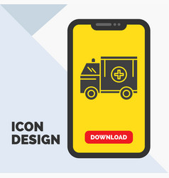 ambulance truck medical help van glyph icon in vector image