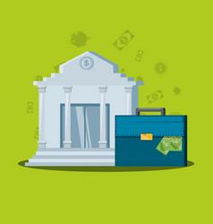 Bank building with portfolio suitcase vector