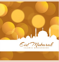 Beautiful eid mubarak bokeh background design vector