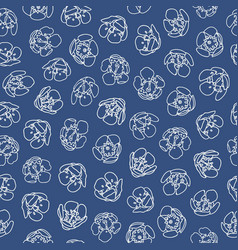 blue pattern with white blossom vector image