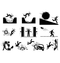 Booby trap pictograms stick figure icons depict vector