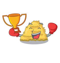 Boxing winner hay bale mascot cartoon vector