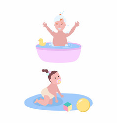 boy bathing in small pool and girl crawling on rug vector image