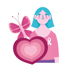 breast cancer awareness month woman butterfly vector image
