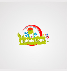 bubble drink logo with fresh leaf and water vector image