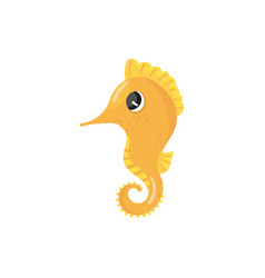 cartoon character of yellow seahorse tropical sea vector image
