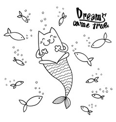Cartoon doodle cat mermaid and fish with text vector