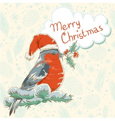 Christmas hand drawn ink retro postcard with bird vector