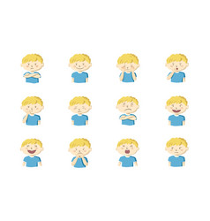 collection of 12 of little boy showing different vector image