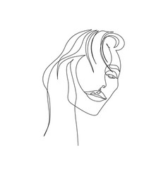 Continuous one line portrait woman with vector