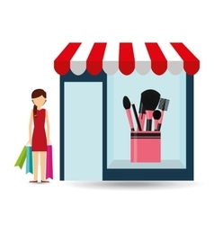 Cosmetics woman buys gifts vector