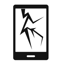 Cracked phone icon simple style vector