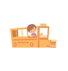 Cute creative boy character playing bus made of vector