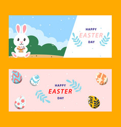 easter day banners set colored mascot vector image
