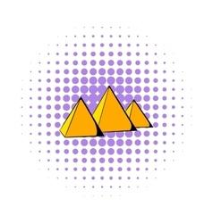 Egyptian pyramids icon comics style vector