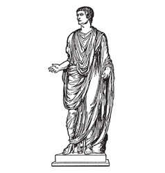 Emperor tiberius wearing a toga vintage vector