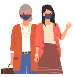 female characters are wearing medical masks vector image