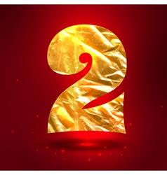 figure 2 made golden crumpled foil vector image