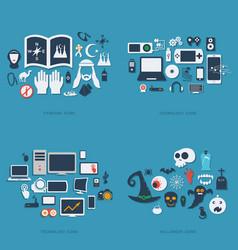 Flat concept set modern design technology ramadan vector