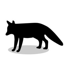 fox wildlife black silhouette animal vector image