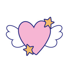 Full color love heart with wings and stars design vector