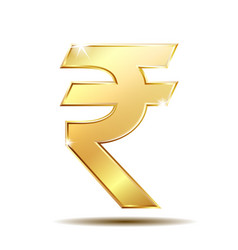 golden rupee currency icon isolated on white vector image