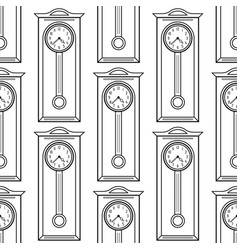 grandfather clock black and white seamless vector image