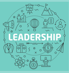 Green line flat circle leadership vector