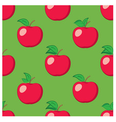 green seamless background with red apples vector image