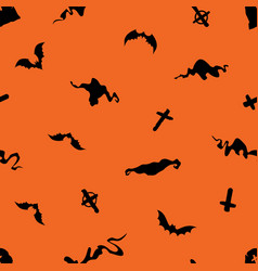 halloween seamless pattern with bats crosses vector image