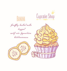 Hand drawn cupcake banana flavor vector