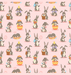 happy adorable rabbit cartoon character cheerful vector image