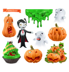 happy halloween carved pumpkins cupcake sticky vector image